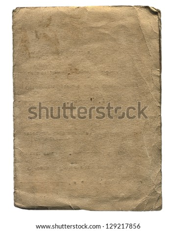Old and Vintage Paper Isolated On The White Background