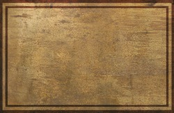 old and weathered rusty gold commemorative plaque with blank empty surface and ornate frames