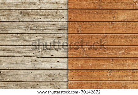 Old and weathered wooden wall against a brand new and varnished wall