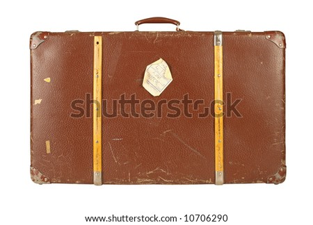 Old and worn retro suitcase isolated on white background