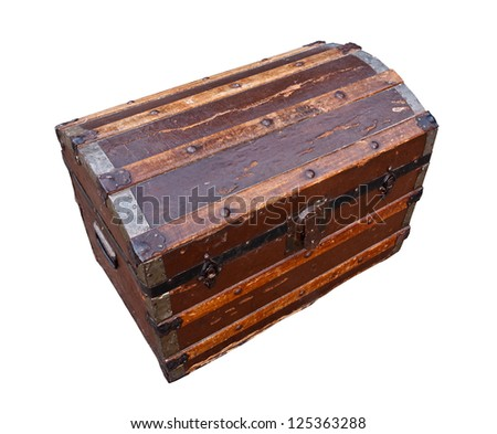 old and worn tatty traditional antique wooden chest grungy looking