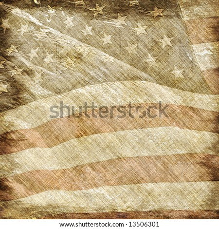 old american flag background. stock photo : Old and worn vintage parchment with a filigree of the american flag.