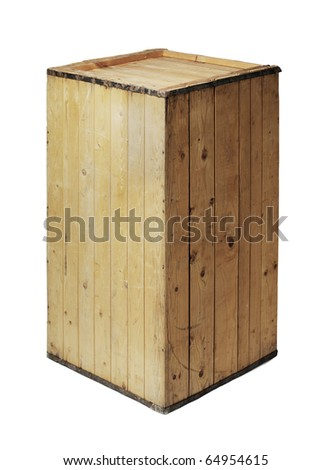 Old and worn wooden crate isolated on white