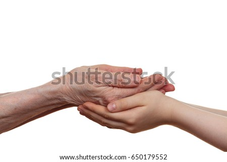 Old and young holding hands of each other, isolated on a white background. #650179552