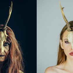 Old and young witch woman. Age. Epifania granny. Mythical woman with antlers. Mysterious woman female. Shaman