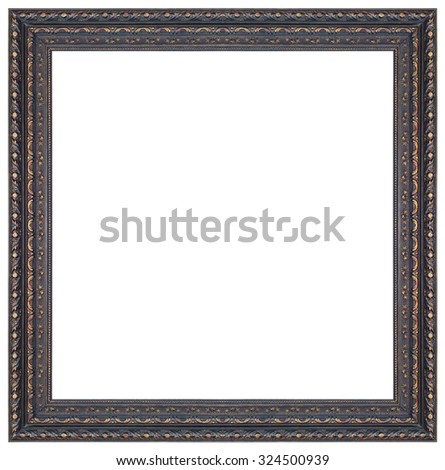 Old antique black and gold square frame isolated decorative carved wood stand antique black and gold square frame isolated on white background