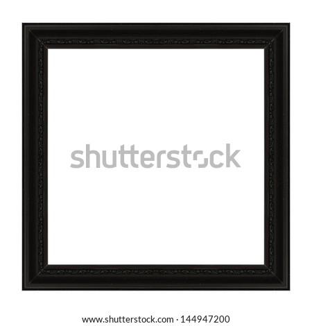 Old Antique Black frame Isolated Decorative Carved Wood Stand Antique Black Frame Isolated On White Backgroun