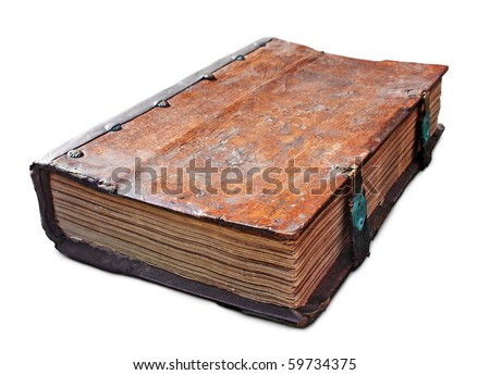 Old antique book with clasp isolated on white. Clipping path included.