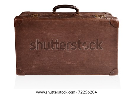 Old antique brown leather suitcase isolated on white.