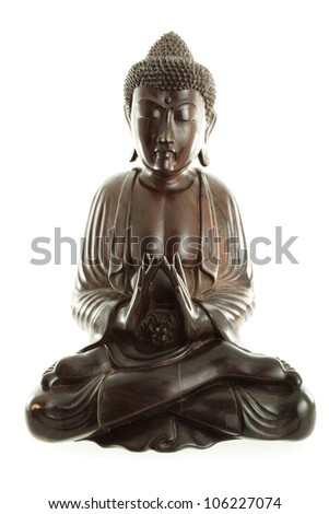 Old antique Budda in Thai style made from wood, isolated on white background, subject is not under copyright