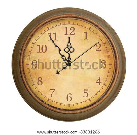 Old antique clock isolated