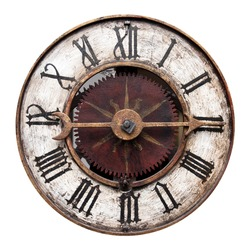 Old Antique Clock Isolated On White