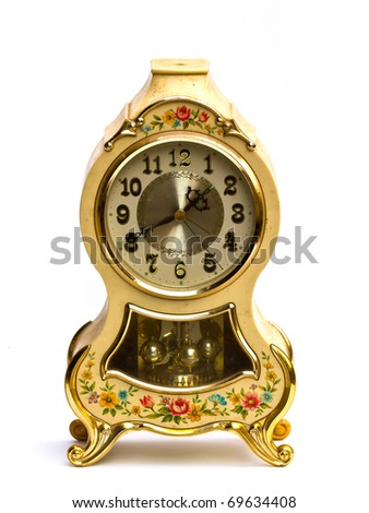 Old antique clock on white background.