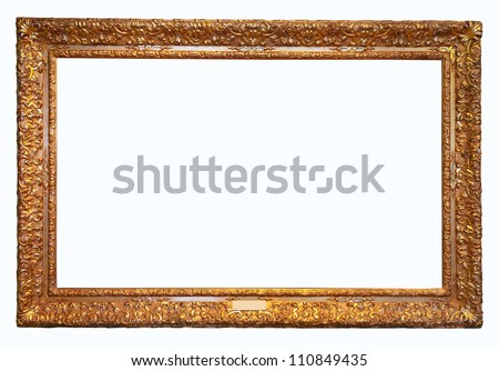 old antique gold frame. Isolated over white background with clipping path