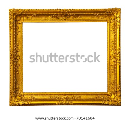 old antique gold frame. Isolated over white background with clipping path - stock photo