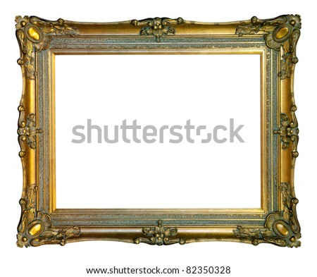 old antique gold frame over white background with clipping path