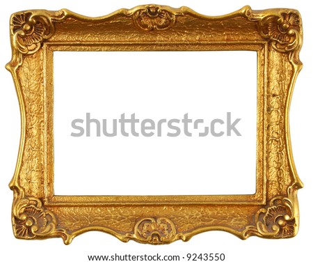 old antique gold frame over white with clipping path