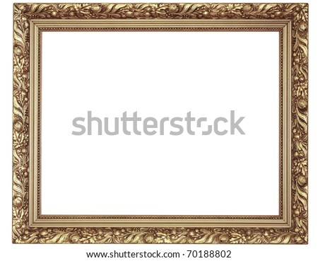 old antique gold picture frame. Isolated over white background  See my portfolio for more - stock photo