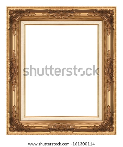 Old antique gold picture frame wall, wallpaper, decorative objects isolated white background. #161300114