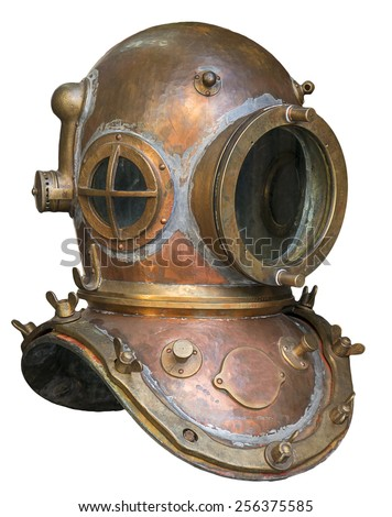 Stock Photo Old antique metal scuba helmet isolated on white background