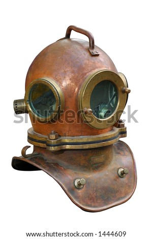 Stock Photo Old antique metal scuba helmet with clipping path isolated on white background