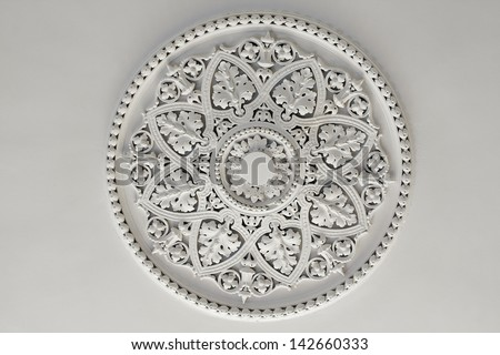 Old Antique Plaster Ceiling Plate Or Rose In An Old Victorian House Stock Photo