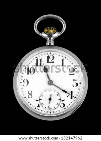 Old antique pocket Watch isolated on black background