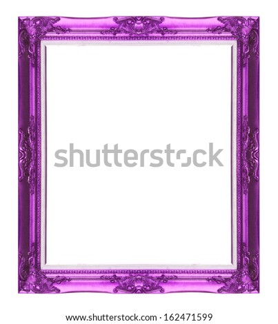 Old antique Purple picture frame wall, wallpaper, decorative objects isolated white background.