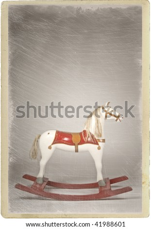 Old antique rocking horse made of wood
