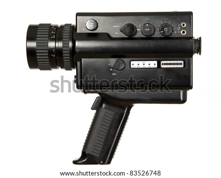 Old antique video camera on white background