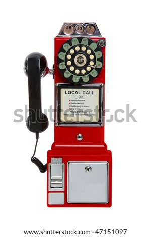 Old, antique, vintage red pay phone isolated over white