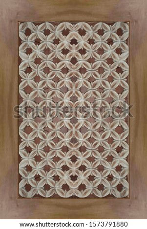 old, antique weathered brown wood door, holes pattern carving framed wooden panel #1573791880