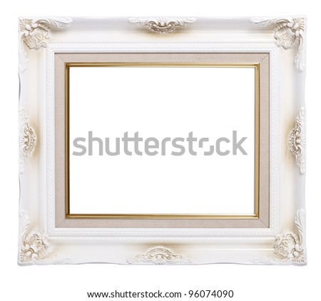 old antique white frame on white background