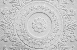 Old antique white  plaster ceiling plate , Vintage victorian style
