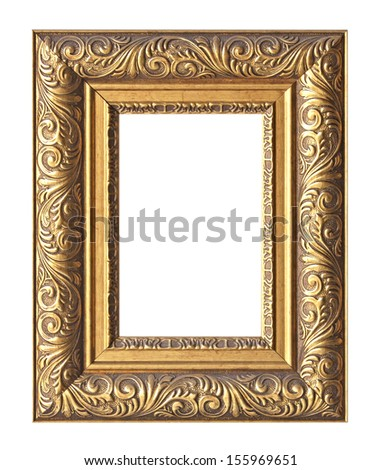 Old antique wooden frame isolated on white background