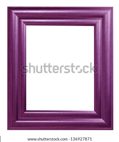 Old antique wooden picture frame Purple white background.