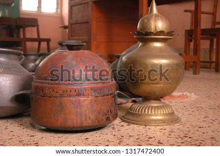 Old Antuique close up of ceramic pot, brass pot and wooden pot, and many more leather sandal, #1317472400