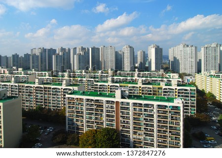 Old apartment and new apartment town - Seoul, Korea