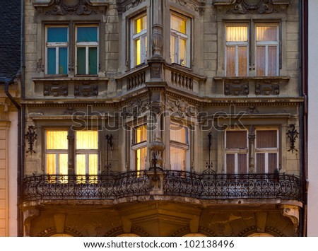 Old apartment building at night