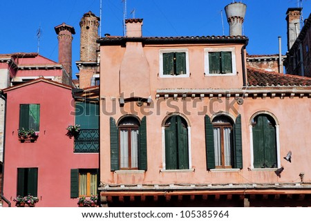 Old apartment building in Venice , Italy.