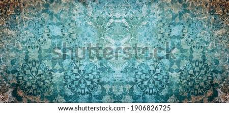 Old aquamarine turquoise vintage shabby damask floral flower patchwork tiles stone concrete cement wallwallpaer texture background banner Stock photo ©