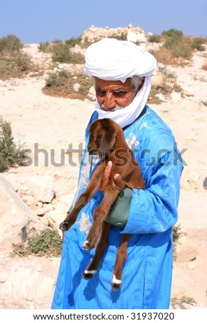 old arabian bedouin with goat - stock photo