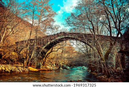 Old arch bridge in the autumn forest. Arch bridge in forest. Autumn forest arch bridge. Stone bridge in autumn forest