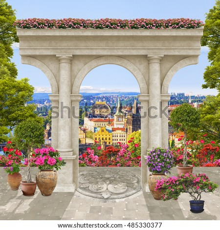stock photo old arch with flowers and trees with height city view 485330377 - Каталог — Фотообои «Балконы, арки»