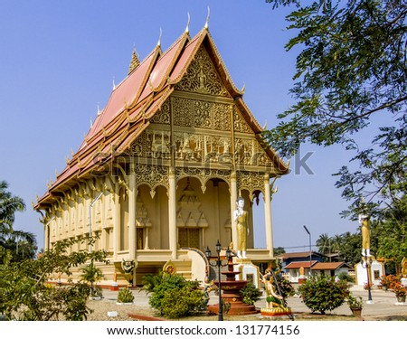 Old Architecture in Ancient Buddhist Temple in Vientiane/ Golden pagoda in Wat Pha-That Luang, Vientiane, Laos