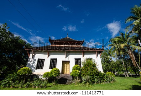 Old Architecture in Ancient  Buddhist Temple , Luang Prabang, Laos, Southeast Asia, The world heritage Area.