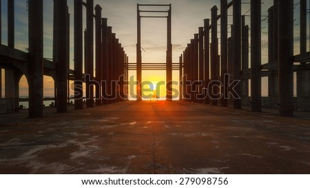 Old architecture in sunset, abstract architecture photo, architecture details close up, street photography at Pattaya, Thailand