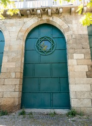 old architecture stone building big iron doors small window wonderful green color abstract pastel background images buying now.