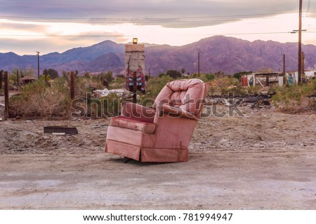 Old armchair in Salton City, California, United States. American ghost town.