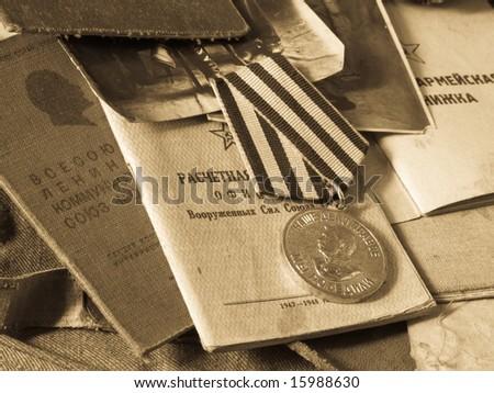 Old army bag and antiques army documents - stock photo